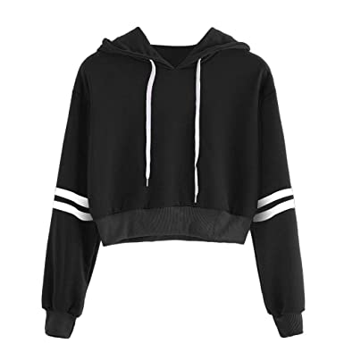 b23e5e1ae37 HGWXX7 Women's Varsity Striped Drawstring Cotton Hoodie Jumper ...