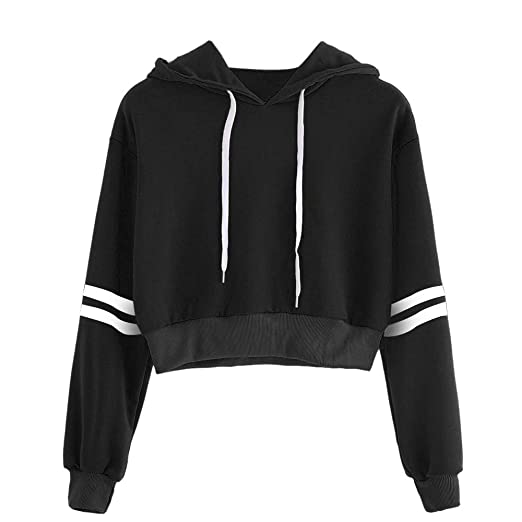 3bcac35c80354a NUWFOR Women Varsity-Striped Drawstring Crop Hoodie Sweatshirt Jumper Crop  Pullover Top(Black