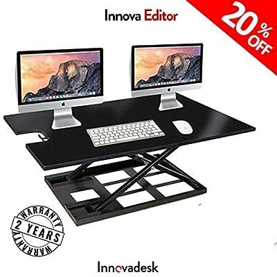 Adjustable Standing Desk Converter-INNOVADESK 40-24 inches- Basic Height Adjustable office desk – Sit Stand Desk Converter -Siting Standing Desk- The Best Standing Desk- Preassembled desk (Black)
