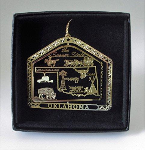 Oklahoma State Brass Ornament Black Leatherette Gift Box