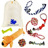 GaiusiKaisa Dog Toys Rope for Small & Medium Dogs(7 Pack Set)- Chew Toys - 100% Natural Cotton Ropes - Squeak Toy - Dog Ball - Dog Bones - Plush Dog Toy - Tug of War Ball – Teething Toys