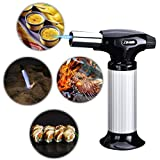Kitchen Butane Culinary Torch - Refillable Adjustable Flame Lighter with Safety Lock for Bake,BBQ,etc.(Butane Not Included)