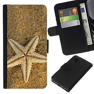 KLONGSHOP // Tirón de la caja Cartera de cuero con ranuras para tarjetas - Playa Starfish - LG Nexus 5 D820 D821 //