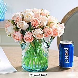 Keklle Artificial Flower, Fake Floral Rose Silk Flower 12 heads Hand Tied Bouquet Home Hotel Office Wedding Party Garden Craft Art Decor 10 Inch High 2