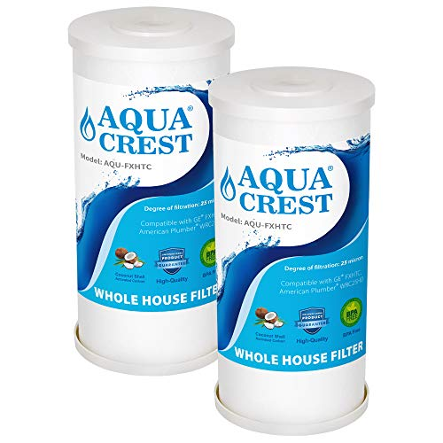 AQUA CREST 5 Micron 10 x 4.5 Whole House Big Blue Sediment and Activated Carbon Water Filter Replacement Cartridge Compatible with GE FXHTC, American Plumber WRC25HD, GXWH35F, GNWH38S, Pack of 2