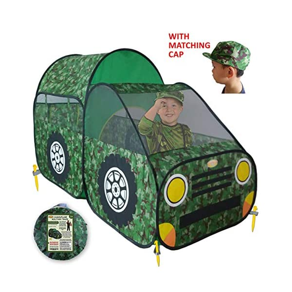 WooHoo Toys Kid's Camouflage Play Tent – Army/Military Style Children Toy  Truck Offers Great Fun for Boys & Girls, Camo Pop Up Car Playhouse for