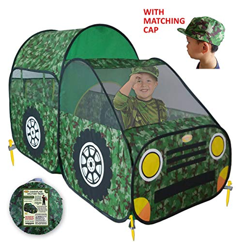 WooHoo Toys Kid's Camouflage Play Tent – Army/Military Style Children Toy Truck Offers Great Fun for Boys & Girls, Camo Pop Up Car Playhouse for Indoor or Outdoor | Portable, Easy Assembly