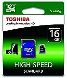 Toshiba SD-C16GJ(6A - Tarjeta de memoria micro SD de 16 GB con adaptador CL4