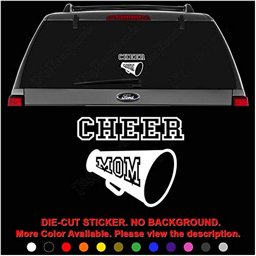 (Cheer Mom Cheerleading Die Cut Vinyl Decal Sticker for Car Truck Motorcycle Vehicle Window Bumper Wall Decor Laptop Helmet Size- [8 inch] / [20 cm] Wide || Color- Gloss White )