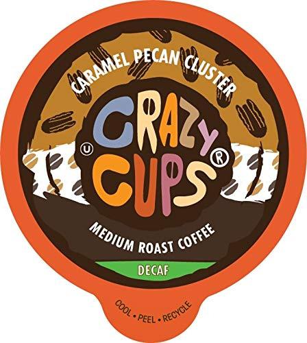 Crazy Cups Flavored Decaf Hot or Iced Coffee, for the Keurig K Cups 2.0 Brewers, Caramel Pecan Cluster, 22 Count