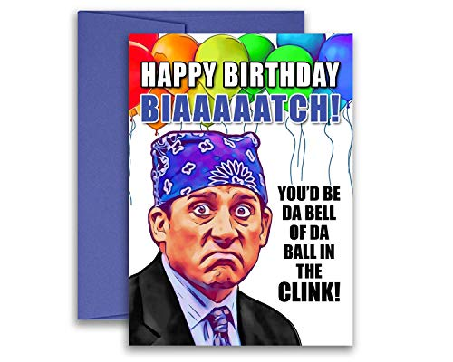 The Office Birthday Card Michael Scott Prison Mike Flat Postcard 5x7 inches w/Envelope