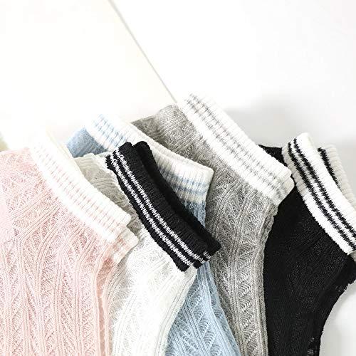WMING-womens socks 5 Paia Calze Calze Corte Orizzontali UltraSottili Deodorante Traspirante Cava Bassa per Aiutare Calze di Cotone Calze Corte comode per Donne e Ragazze