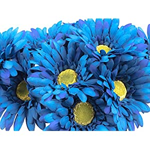 CraftMore Blue Colored Gerbera Daisy Stems 14 Inch Set of 12 98