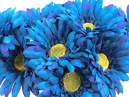 CraftMore Blue Colored Gerbera Daisy Stems 14 Inch Set of (Daisy Gerbera Centerpiece)