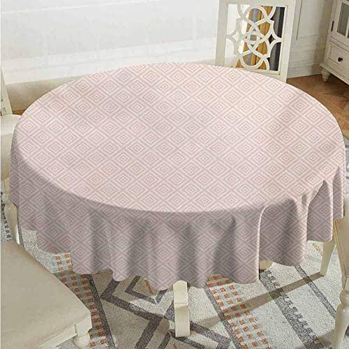 XXANS Stain Round Tablecloth,Shabby Chic,Vintage Geometric Diamond Line Tile Pattern Pastel Color Nested Rhombus Print,Party Decorations Table Cover Cloth,47 INCH,Peach Cream