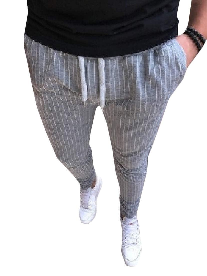 pipigo Mens Outdoor Drawstring Elastic Waist Trousers Stripe Pants