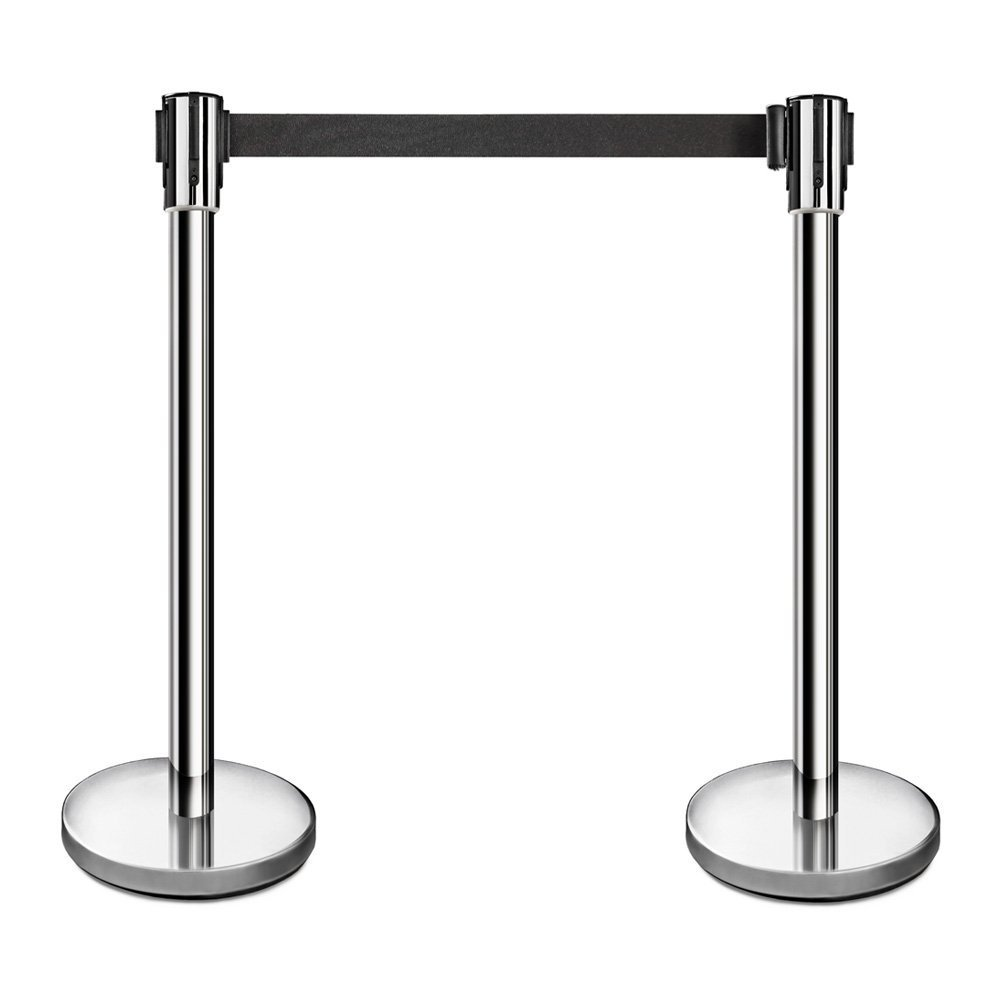 New Star Foodservice 54606 Stanchion, 36-Inch Height, 6.5-Foot Retractable Belt, Set of 2, Stainless Steel by New Star Foodservice