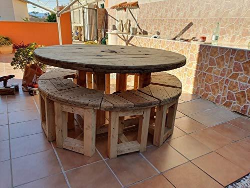 Conjunto mesa redonda 160 cm. con 10 taburetes: Amazon.es: Handmade