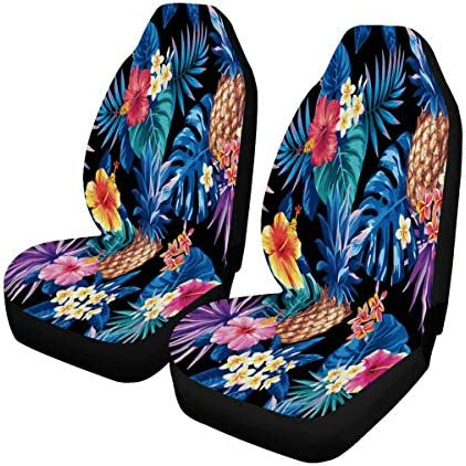 INTERESTPRINT Pineapples with Blue Leaves Auto Seat Protector 2 Pack, Car Front Seat Cushion Fit Car, Truck, SUV or Van