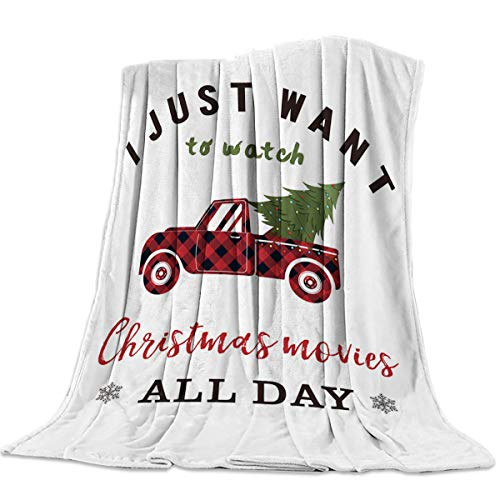 Fleece Blanket Throw Blanket for Bed or Couch,Super Soft Microfiber Fuzzy Decorative Flannel Blanket for Adults Kids,I Just Want To Watch Christmas Movies All Days Truck And Tree(60 x 80 Inch)