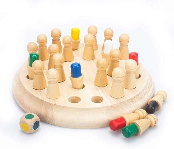 AIYYJ▫bb Juego de Memoria de Color la Capacidad cognitiva 3D Rompecabezas de Madera de Ajuste de la Memoria del Regalo de cumpleaños del palillo de ajedrez Primeros Bloques educativos para niños Kids: