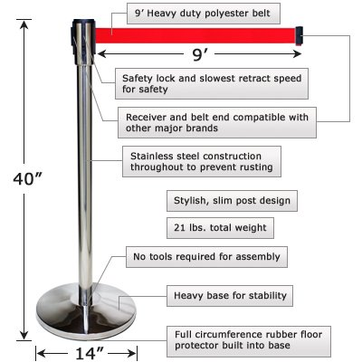 2 Crowd Control Pro Line Economy Retractable Belt Stanchions - Polished Stainless Post with Black Belt