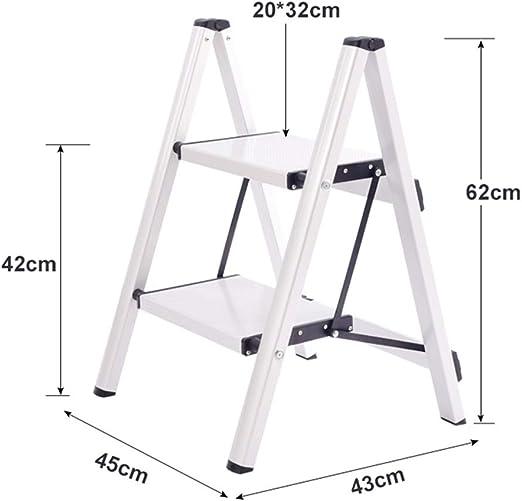 XEWNEG Escalera De Aluminio De 2 Peldaños, Pedal Plegable Antideslizante Ligero, For Cocina Baño Oficina Taburete (Negro, Blanco (Color : White): Amazon.es: Hogar