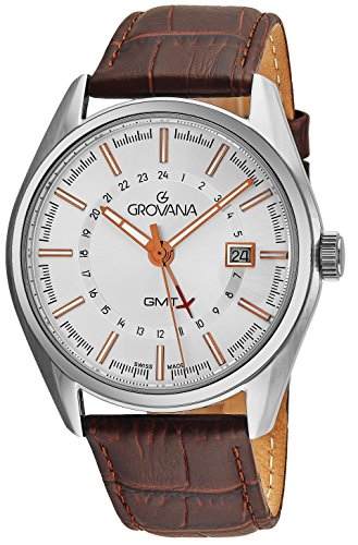 Grovana GMT Watches For Men Stainless Steel 2nd Time Zone 24 Hour Watch - 42mm Silver Face Brown Leather Band Analog Swiss Quartz Classic Mens Dress Watch 1547.1528