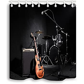 NYMB Music Shower Curtains Set Musical Instruments Guitar With Drum In Black Waterproof Fabric