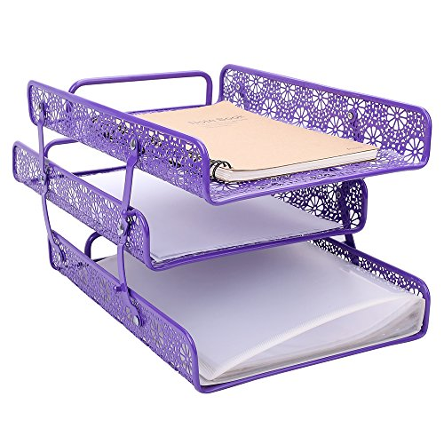 Amazon.com : Crystallove Purple Metal Hollow 3-Tier Document Tray ...