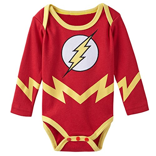 A&J Design Baby Boys' The Flash Long Sleeve Bodysuit 12-18 Months