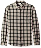AG Adriano Goldschmied Men's Colton Long Sleeve Washed Plaid Button Down, Years Mineral Veil/Black, L