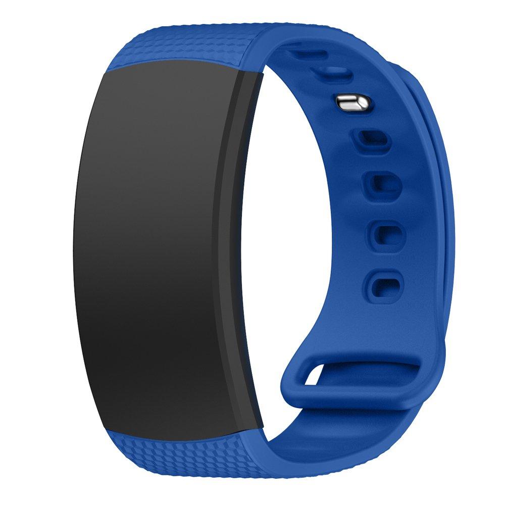 Miga Samsung Gear Fit2/Gear Fit2 Pro Watch Band, Soft Silicone mteal Bracelet Wrist Strap Replacement Sport Band for Samsung Gear Fit2 SM-R360/Fit2 ...