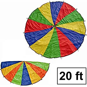 Cintz 20' Kids play Parachute, Multicolored Play Parachute, outdoor game, with 20 handles in a bag