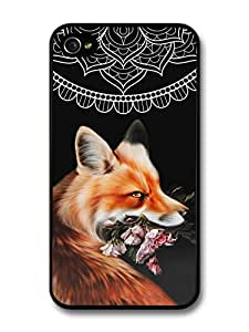 Cute Cool Fox With Flowers and Mandala Pattern on Black Hipster Grunge case for iPhone 4 4S