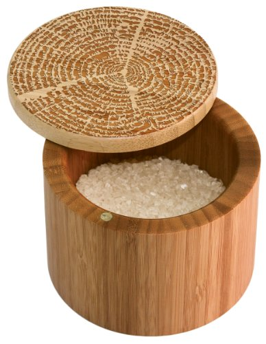 Totally Bamboo Salt Box, Tree of Life, Etched 100% Bamboo Container With Magnetic Lid For Secure Strong Storage for Spices, Herbs, Seasoning & More