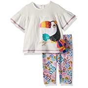 Mud Pie Baby Girls Toucan Floral Tunic and Legging 2 Pc Playwear Set, White, 9-12 Months