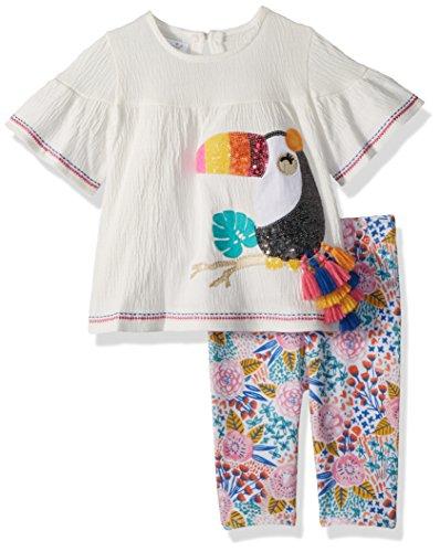Mud Pie Baby Girls Toucan Floral Tunic & Legging 2 Pc Playwear Set, White, 12-18 Months ()