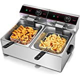 Giantex 5000w Electric Countertop Deep Fryer Dual Tank Commercial Restaurant Stainless Steel 12L Capacity Double Electric Fryer with Basket and Temperature Control