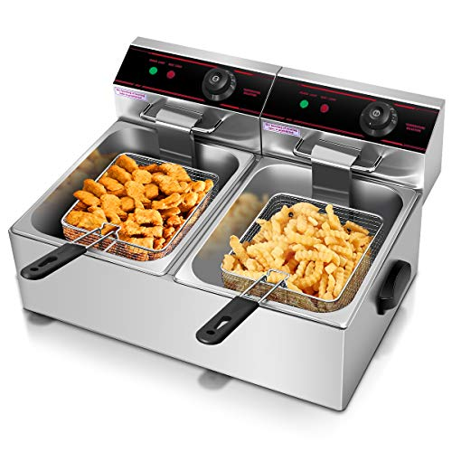 Giantex 5000w Electric Countertop Deep Fryer Dual Tank Commercial Restaurant Stainless Steel 12L Capacity Double Electric Fryer with Basket and Temperature Control (Double Deep Fryer Commercial)