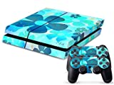 Vinyl Decal Skin Cover/stickers Wrap for Sony Ps4 Play Station 4 Console+2 Controllers-blue Flowers