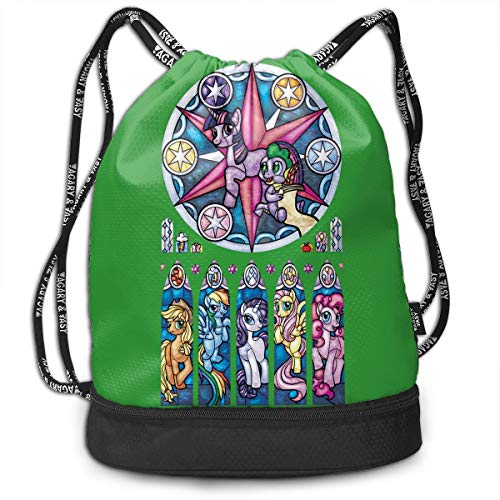 LightCa My Little Pony Stained Glass Window Bundle Backpack For Women Black 48]()