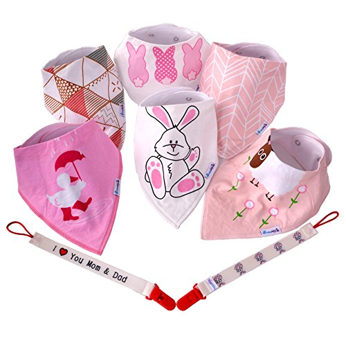 Price comparison product image Happy Babyz Baby Bibs for Girls Bandana for Drool Teething and Feeding Two Pacifier Clip Bonus Soft Cotton Relaxed Colors Looks Great After Laundry