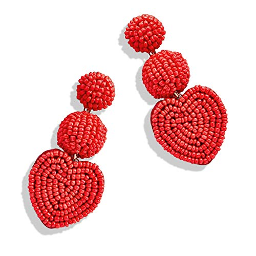 - Statement Drop Earrings - Bohemian Beaded Round Dangle Earrings Gift for Women (3Heart Red)