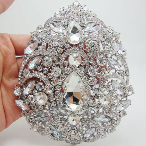 "TTjewelry Bride 4.92"" Flower Drop Pendant Bridesmaid Brooch Austria Crystal (White)"