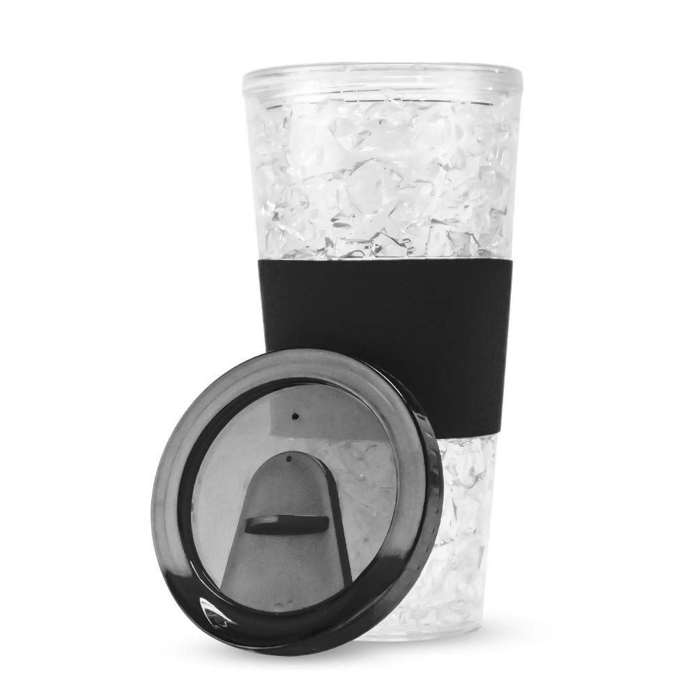 19 Fl Oz Double Wall Acrylic Freezer Mug Tumbler with Coozie Sleeve and Slide-To-Sip Lid