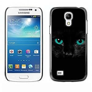 Qstar Arte & diseño plástico duro Fundas Cover Cubre Hard Case Cover para SAMSUNG Galaxy S4 mini VERSION! / i9190 / i9192 ( Black Feline Cat Eyes Intense Blue Pet)