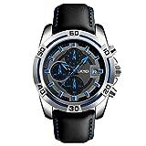 Reloj Hombre SKMEI 9156 Cronógrafo Funcional Correa Piel Sumergible 30 Metros (Azul)