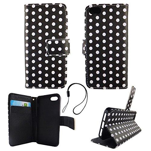 König-Shop Wallet Case Kunstlederhülle für Apple iPhone 5 / 5s / SE - Cover Flip Tasche in Schwarz / Weiss Design mit Kartenfach und Ständerfunktion