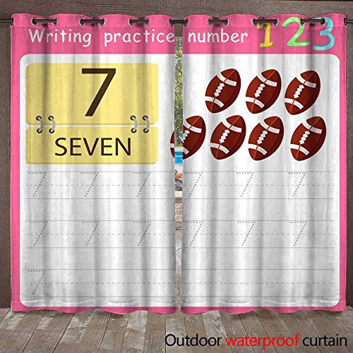 (RenteriaDecor Home Patio Outdoor Curtain Worksheet Writing Practice Number Seven W72 x L108)
